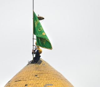 آئین تعویض پرچم متبرک گنبد حرم حضرت عبدالعظیم(ع) در شب میلاد آنحضرت