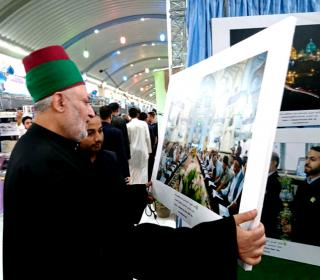 Holy shrine stand in Karbala martyrdom exhibition